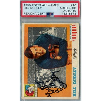 1955 Topps All-American Football #10 Bill Dudley PSA AUTH Auto 10 *8578 (Reed Buy)
