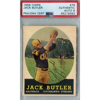 1958 Topps Football #76 Jack Butler PSA AUTH Auto 9 *8583 (Reed Buy)