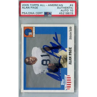 2005 Topps All-American Football #4 Alan Page PSA AUTH Auto 10 *8615 (Reed Buy)