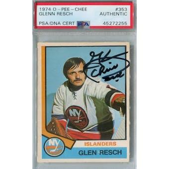 1974/75 O-Pee-Chee Hockey #353 Glenn Resch RC PSA/DNA AUTH *2255 (Reed Buy)