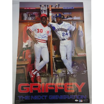 Ken Griffey Jr/Ken Griffey Sr with Moms Ruth and Birdie Autographed Poster JSA BB28752 (Reed Buy)