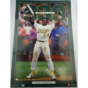 Rickey Henderson Autographed Oakland A's Poster JSA HH11508 (Reed Buy)
