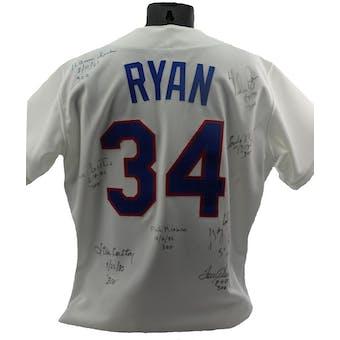 Nolan Ryan Autographed 300 Game Winners Jersey (8 sigs) JSA X61572 (Reed Buy)