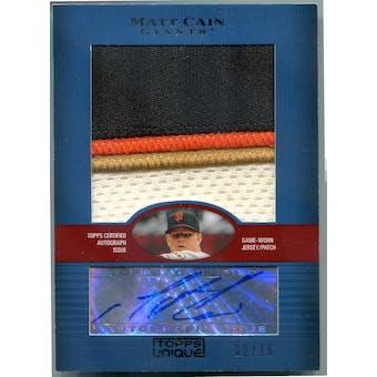 2009 Topps Unique Jumbo Patch Autographs #MC Matt Cain #/15 (Reed Buy)