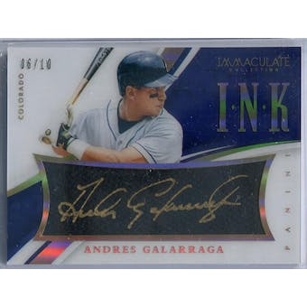 2015 Immaculate Collection Immaculate Ink Holo Gold #6 Andres Galarraga Autograph #/10 (Reed Buy)