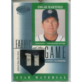 2001 Leaf Certified Materials Fabric of the Game #80JN Edgar Martinez #/11 (Reed Buy)