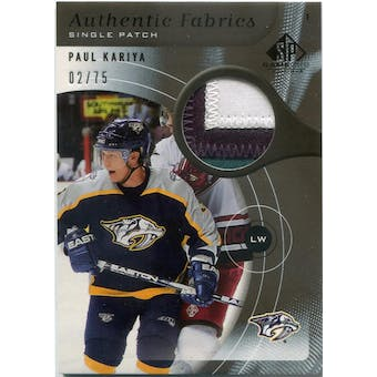 2005/06 SP Game Used Authentic Fabrics Patches #APPK Paul Kariya #/75 (Reed Buy)
