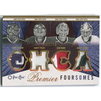 2009/10 O-Pee-Chee Premier Foursomes Patches #4JTWPM Steve Mason/Carey Price/Cam Ward/Marty Turco #/10 (Reed B