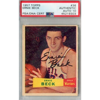 1957/58 Topps #36 Ernie Beck PSA AUTH Auto 10 *9303 (Reed Buy)