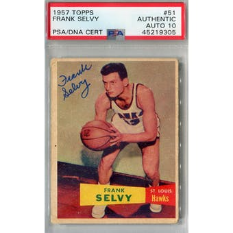 1957/58 Topps #51 Frank Selvy RC PSA AUTH Auto 10 *9305 (Reed Buy)