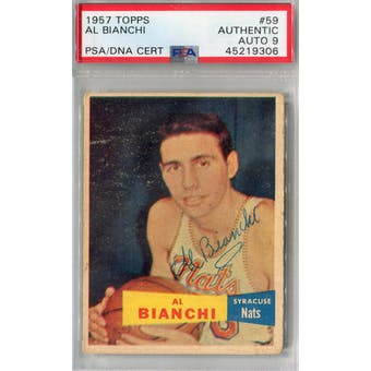 1957/58 Topps #59 Al Bianchi RC PSA AUTH Auto 9 *9306 (Reed Buy)