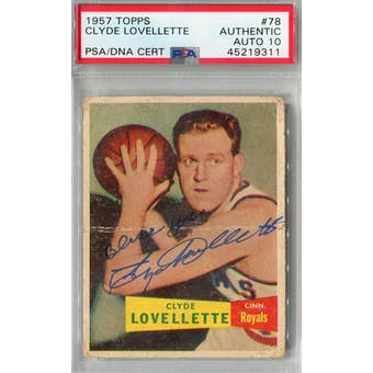 1957/58 Topps #78 Clyde Lovellette RC PSA AUTH Auto 10 *9311 (Reed Buy)