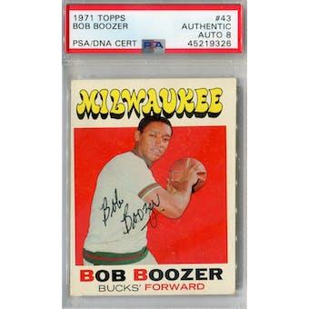1971/72 Topps #43 Bob Boozer PSA AUTH Auto 8 *9325 (Reed Buy)