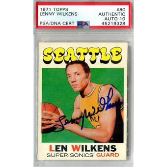 1971/72 Topps #80 Lenny Wilkens PSA AUTH Auto 10 *9328 (Reed Buy)