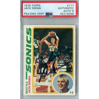 1978/79 Topps #117 Jack Sikma RC PSA AUTH Auto 9 *9348 (Reed Buy)