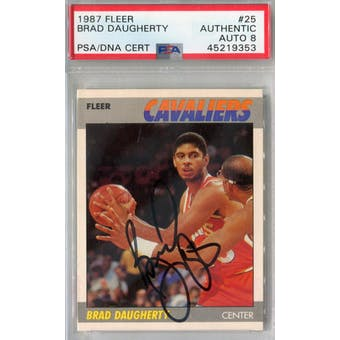 1987/88 Fleer #25 Brad Daugherty RC PSA AUTH Auto 8 *9353 (Reed Buy)