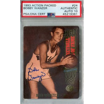 1993 Action Packed #24 Bobby Wanzer PSA AUTH Auto 10 *9361 (Reed Buy)