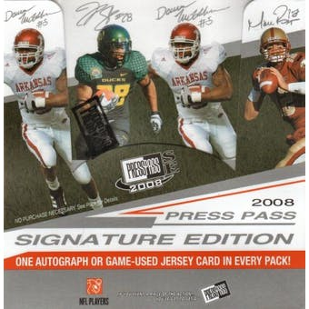 2008 Press Pass Signature Edition Football Hobby Box