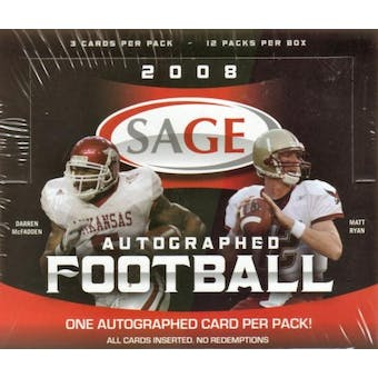 2008 Sage Autographed Football Hobby Box