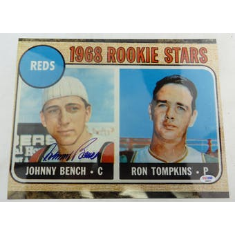 Johnny Bench Autographed 11x14 Photo of Rookie Card PSA/DNA D96032 (Reed Buy)