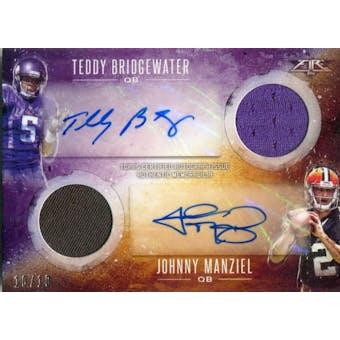 2014 Topps Fire Autograph Relics Dual #DARBM Johnny Manziel/Teddy Bridgewater #/10 (Reed Buy)