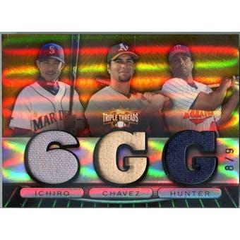 2007 Topps Triple Threads Relics Combos Gold #85 Ichiro Suzuki/Eric Chavez/Torii Hunter #/9 (Reed Buy)