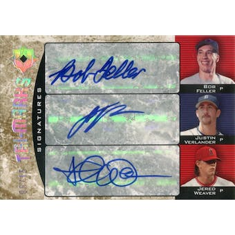 2006 Ultimate Collection Tri-Marks Signatures #FVW Feller/Verlander/Weaver Autograph #/15 (Reed Buy)
