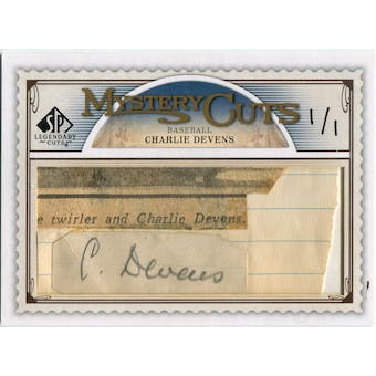 2009 SP Legendary Cuts Mystery Cuts #LCMC Charlie Devens Autograph 1/1 (Reed Buy)