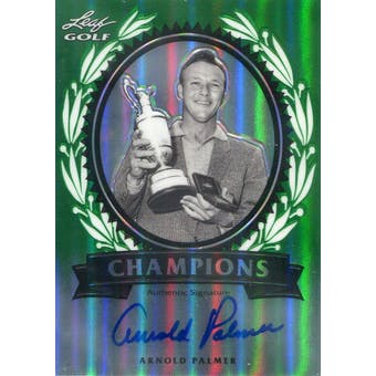 2011 Leaf Golf Metal Champions Autographs Prismatic Green #CHAP1 Arnold Palmer #/10 (Reed Buy)
