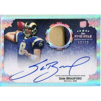 2010 Topps Five Star Rookie Autographed Patch Platinum #170 Sam Bradford JSY Autograph #/20 (Reed Buy)