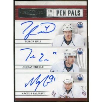2010/11 Dominion Pen Pals Triples #7 Taylor Hall/Jordan Eberle/Magnus Paajarvi Autograph #/25 (Reed Buy)