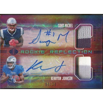 2018 Panini Illusions Rookie Reflection Dual Patch Autographs Blue #17 Kerryon Johnson/Sony Michel #/20 (Reed
