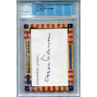 2009 Razor Historical Heroes Cut Signature Edition Dean Acheson Autograph (Reed Buy)
