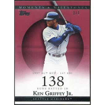 2007 Topps Moments and Milestones Red #46 Ken Griffey Jr. 1/1 (Reed Buy)