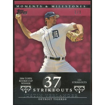 2007 Topps Moments and Milestones Red #64 Justin Verlander 1/1 (Reed Buy)