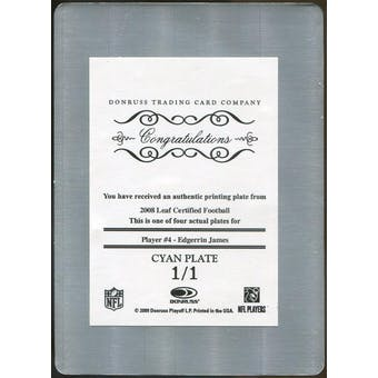 2008 Leaf Certified Materials Printing Plates Cyan #4 Edgerrin James 1/1 (Reed Buy)
