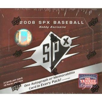 2008 Upper Deck SPx Baseball Hobby Box