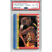 1987/88 Fleer Stickers #8 Kareem Abdul-Jabbar PSA 8 *8848 (Reed Buy)