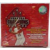 2003 Donruss Champions Baseball Hobby Box (Reed Buy)