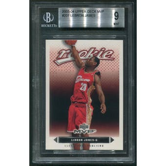 2003/04 Upper Deck MVP Basketball #201 LeBron James Rookie BGS 9 (MINT)