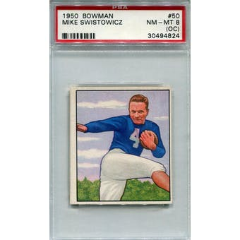 1950 Bowman #50 Mike Swistowicz RC PSA 8OC *4824 (Reed Buy)