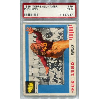 1955 Topps All-American #79 Pug Lund RC PSA 5 *7757 (Reed Buy)