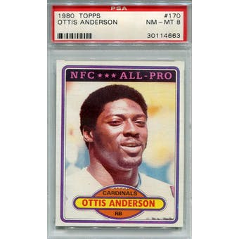 1980 Topps #170 Ottis Anderson RC PSA 8 *4663 (Reed Buy)
