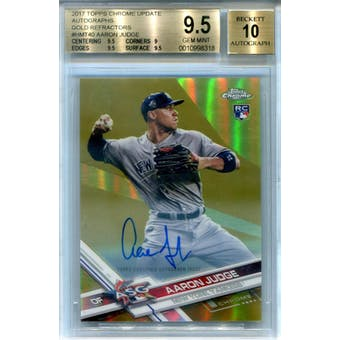 2017 Topps Chrome Update Autographs Gold Refractor #HMT40 Aaron Judge BGS 9.5 Auto 10 *8318 (Reed Buy)