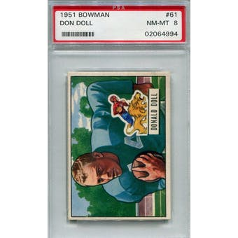 1951 Bowman #61 Don Doll PSA 8 *4994 (Reed Buy)