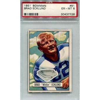 1951 Bowman #81 Brad Ecklund RC PSA 6 *7728 (Reed Buy)