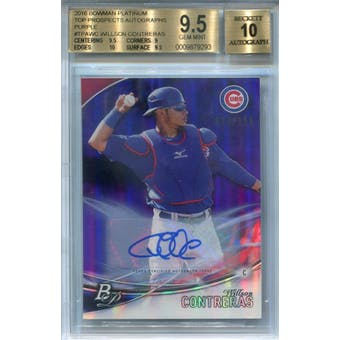2016 Bowman Platinum Top Prospects Autographs Purple #TPAWC Willson Contreras BGS 9.5 Auto 10 *9293 (Reed Buy)