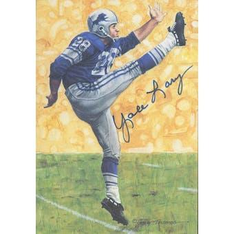 Yale Lary Autographed Goal Line Art Card JSA #KK52362 (Reed Buy)