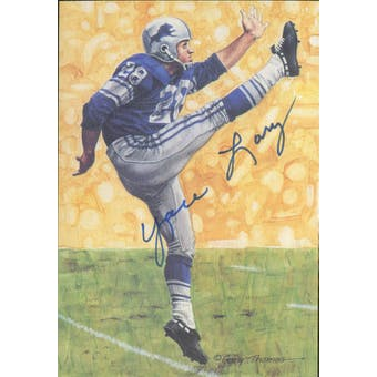 Yale Lary Autographed Goal Line Art Card JSA #KK52375 (Reed Buy)