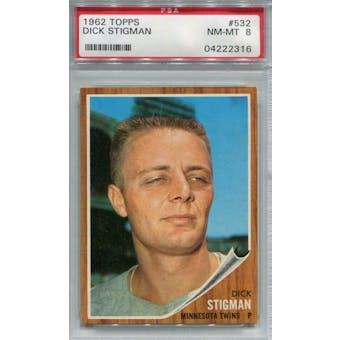 1962 Topps #532 Dick Stigman PSA 8 *2316 (Reed Buy)
